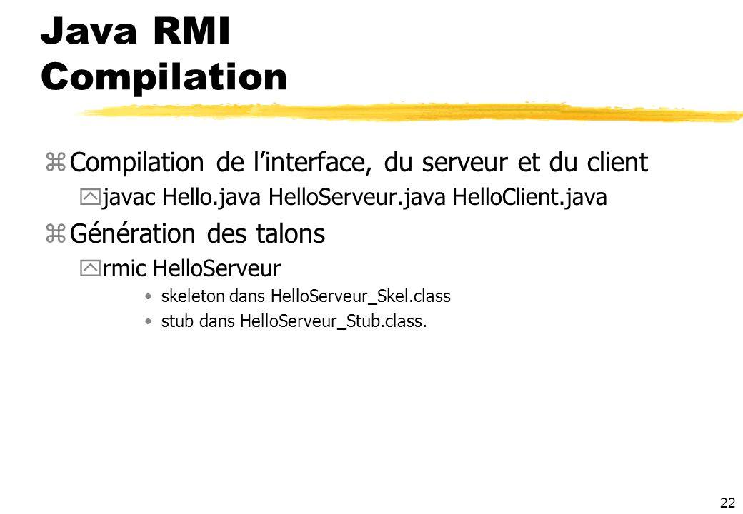 Java RMI Compilation Compilation de l'interface, du serveur et du client. javac Hello.java HelloServeur.java HelloClient.java.