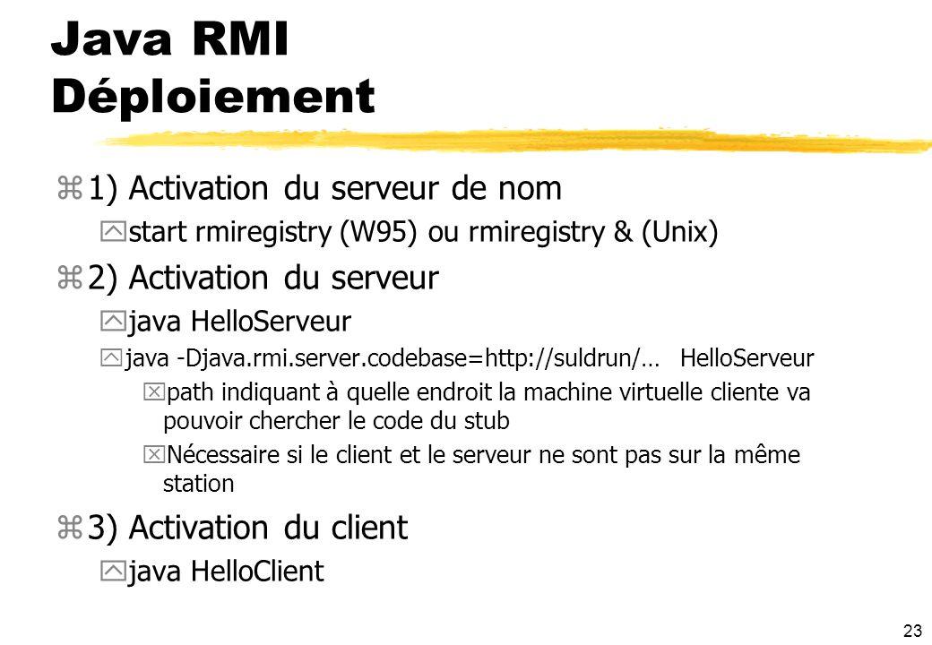 Java RMI Déploiement 1) Activation du serveur de nom