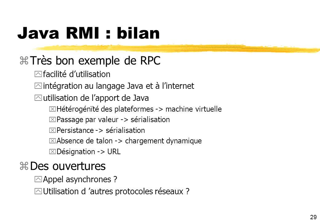Java RMI : bilan Très bon exemple de RPC Des ouvertures