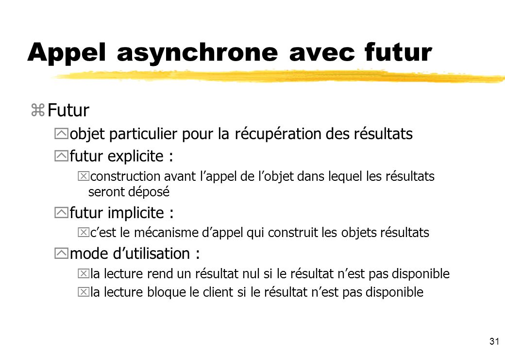Appel asynchrone avec futur