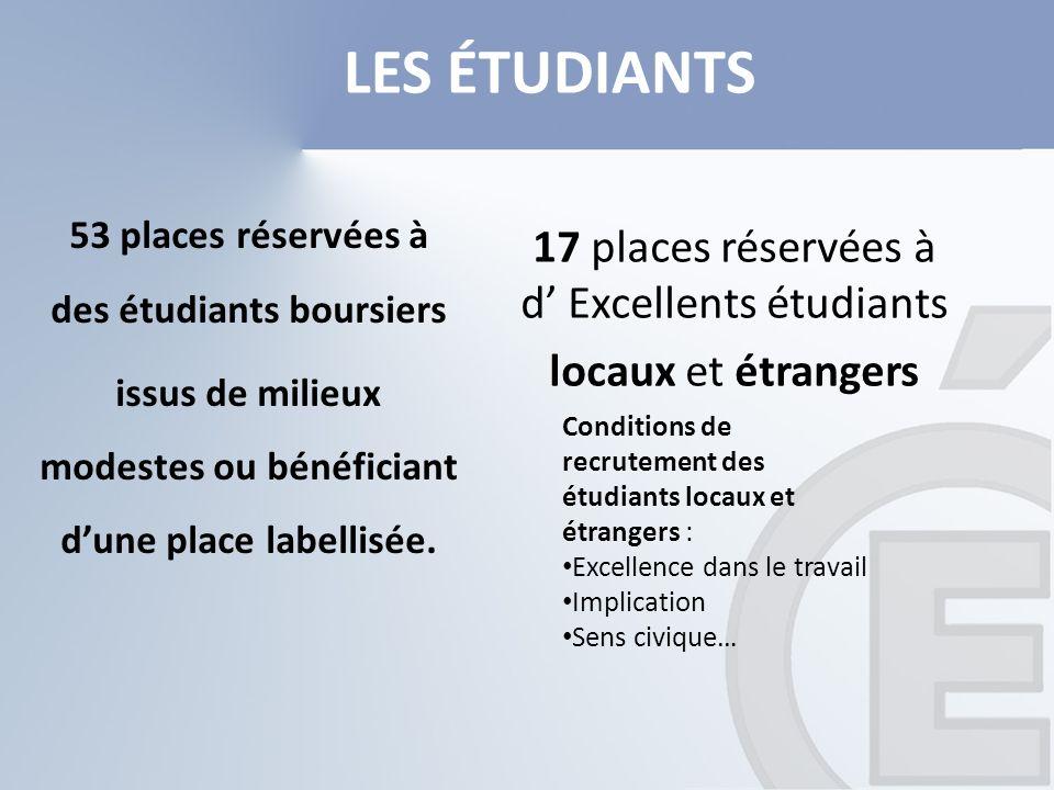 17 places réservées à d' Excellents étudiants