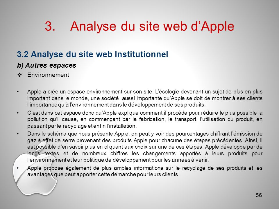 3. Analyse du site web d'Apple