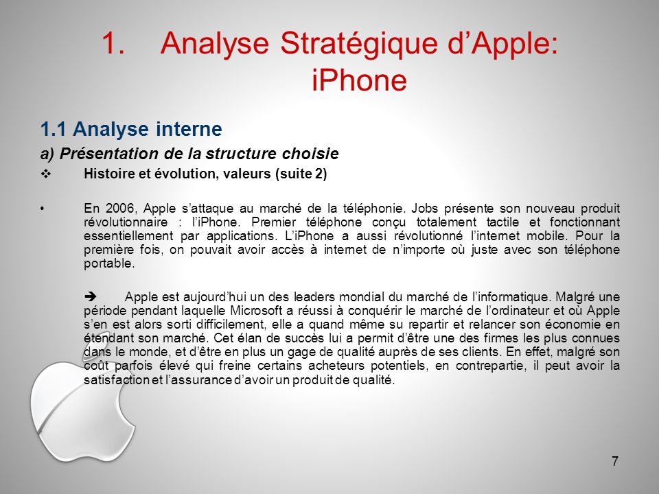 Analyse Stratégique d'Apple: iPhone