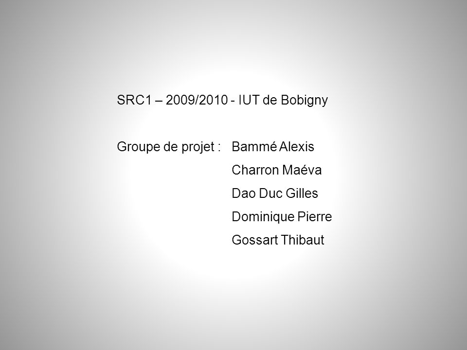 Groupe de projet : Bammé Alexis Charron Maéva Dao Duc Gilles