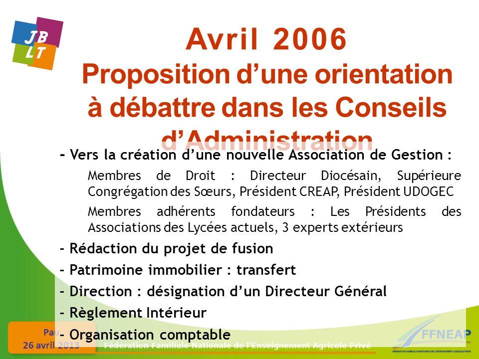 Avril 2006 Proposition d'une orientation à débattre dans les Conseils d'Administration. - Vers la création d'une nouvelle Association de Gestion :