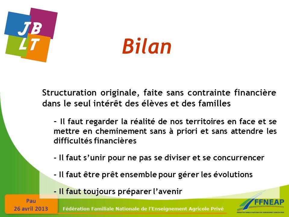 Bilan Structuration originale, faite sans contrainte financière dans le seul intérêt des élèves et des familles.