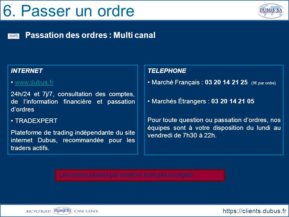 6. Passer un ordre Passation des ordres : Multi canal INTERNET