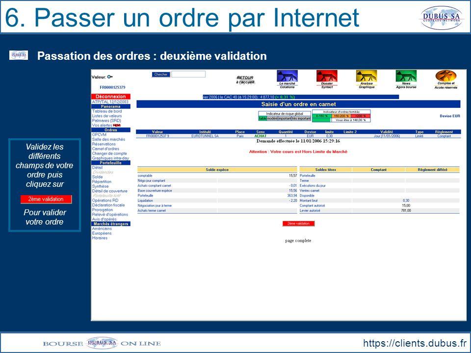 6. Passer un ordre par Internet
