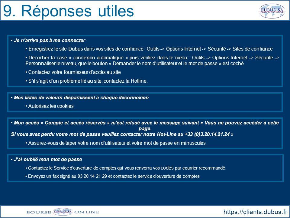 9. Réponses utiles https://clients.dubus.fr