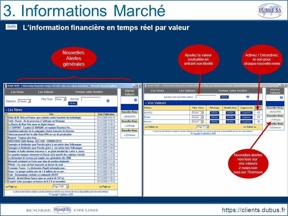 3. Informations Marché L'information financière en temps réel par valeur. Ajoutez la valeur. souhaitée en.