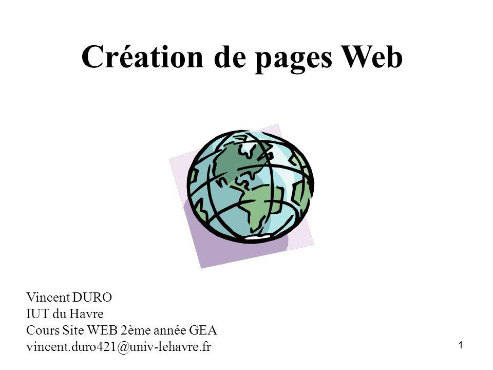 Création de pages Web Vincent DURO IUT du Havre