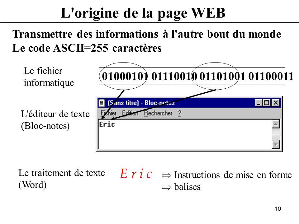 L origine de la page WEB E r i c