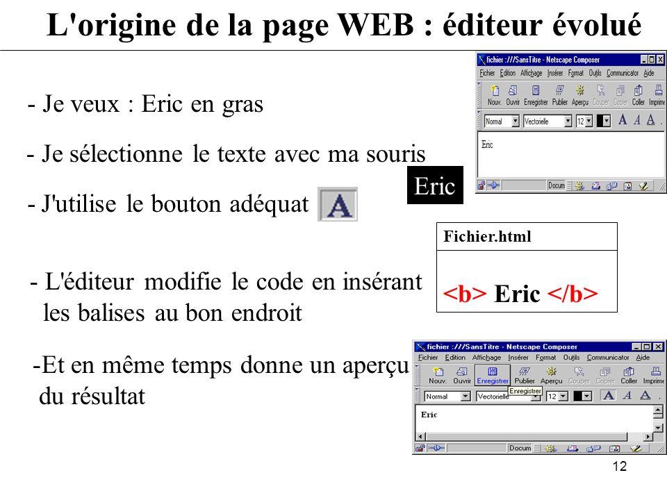 L origine de la page WEB : éditeur évolué