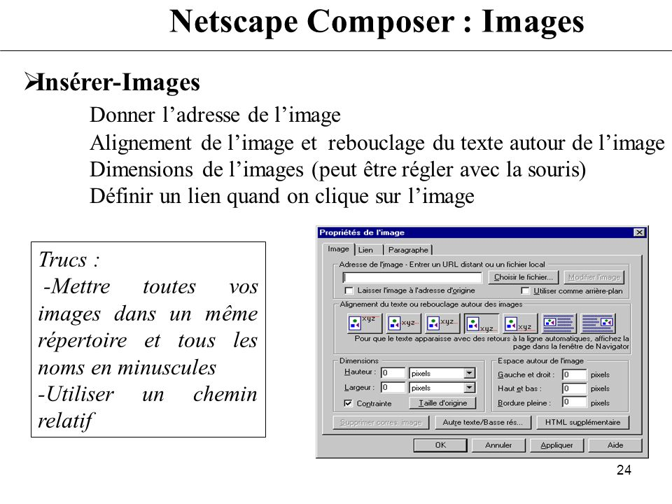 Netscape Composer : Images