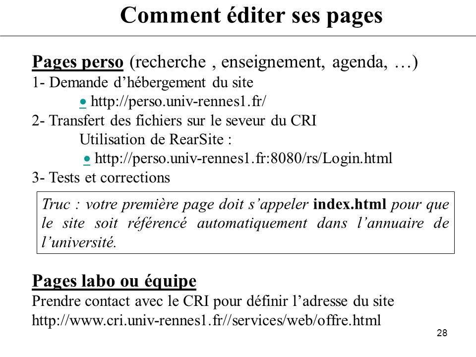 Comment éditer ses pages