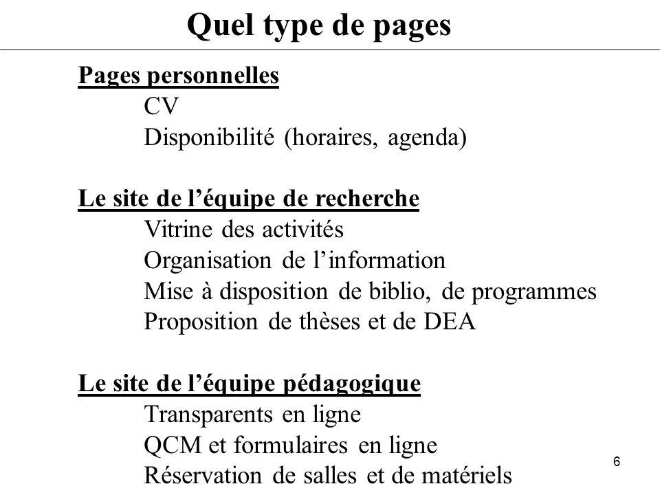 Quel type de pages Pages personnelles CV