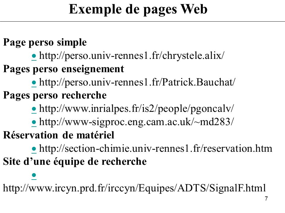 Exemple de pages Web Page perso simple