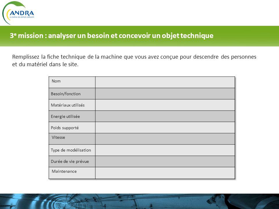 3e mission : analyser un besoin et concevoir un objet technique