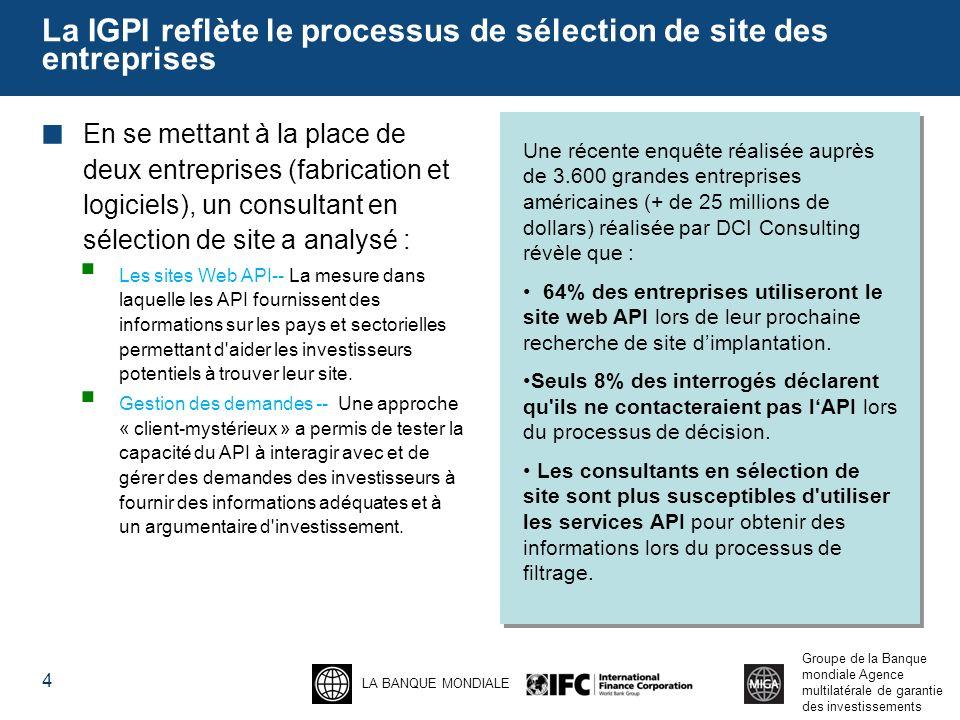 La IGPI reflète le processus de sélection de site des entreprises