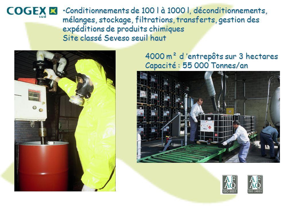 Conditionnements de 100 l à 1000 l, déconditionnements, mélanges, stockage, filtrations, transferts, gestion des expéditions de produits chimiques Site classé Seveso seuil haut 4000 m² d 'entrepôts sur 3 hectares Capacité : 55 000 Tonnes/an