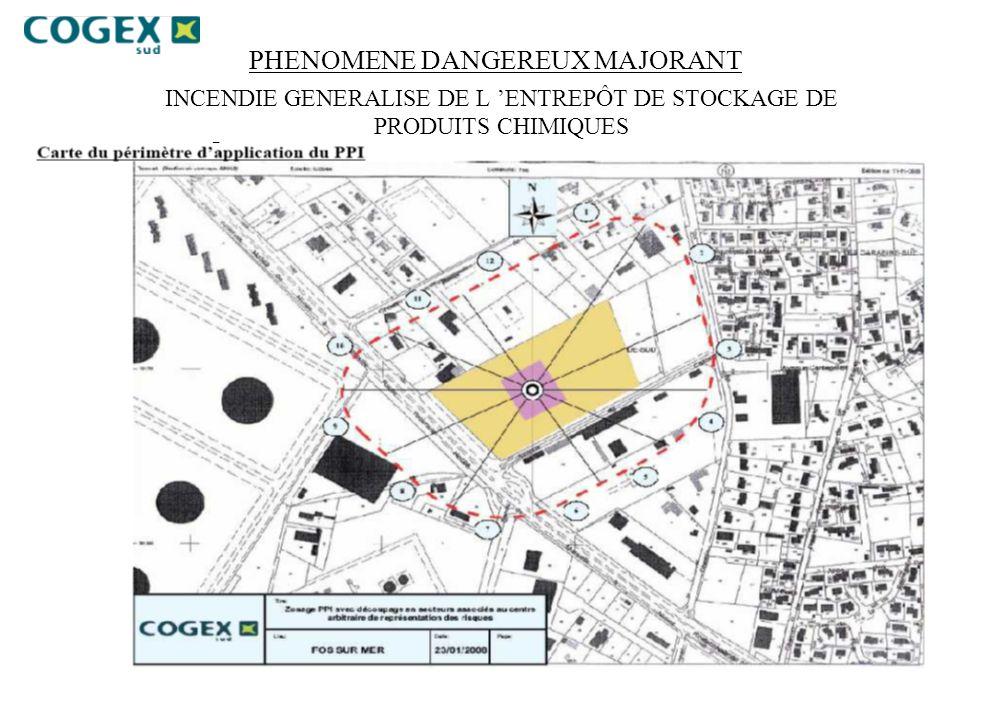PHENOMENE DANGEREUX MAJORANT INCENDIE GENERALISE DE L 'ENTREPÔT DE STOCKAGE DE PRODUITS CHIMIQUES