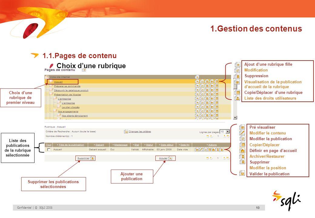 1.Gestion des contenus 1.1.Pages de contenu Choix d'une rubrique