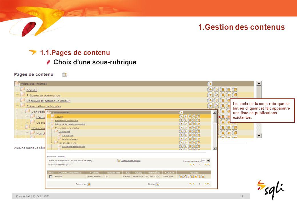 1.Gestion des contenus 1.1.Pages de contenu Choix d'une sous-rubrique