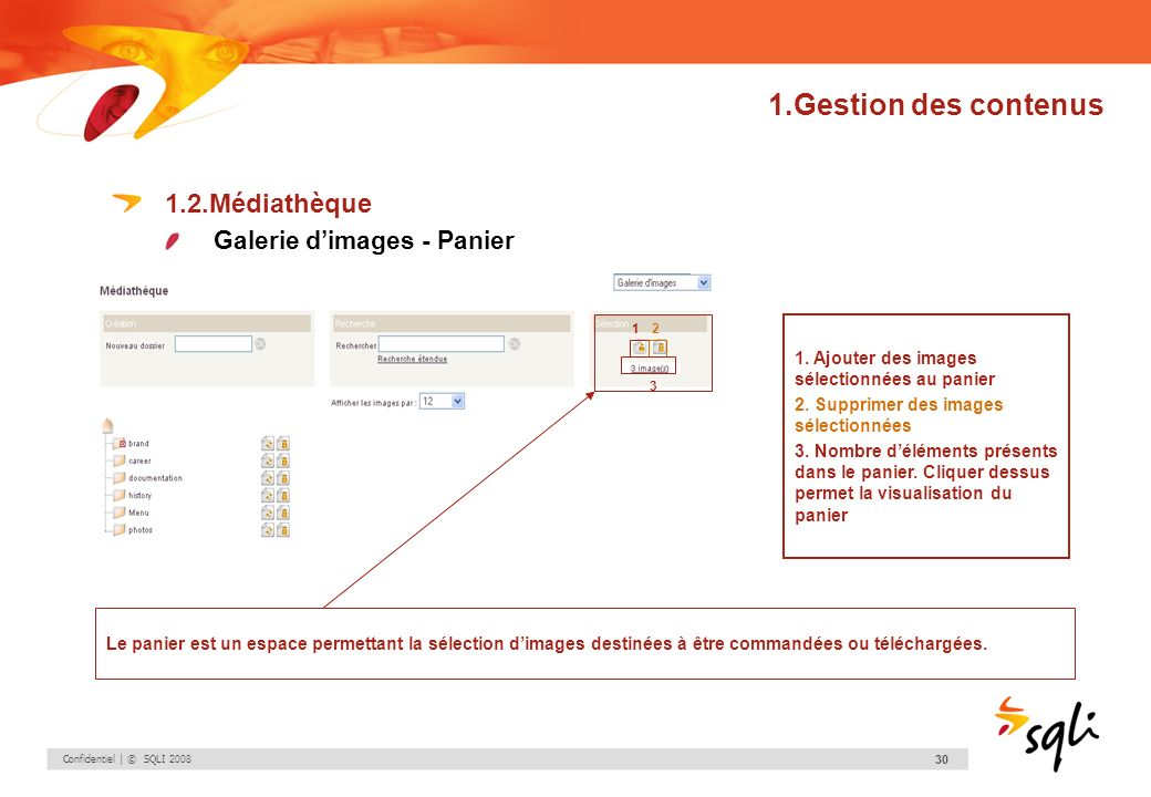 1.Gestion des contenus 1.2.Médiathèque Galerie d'images - Panier