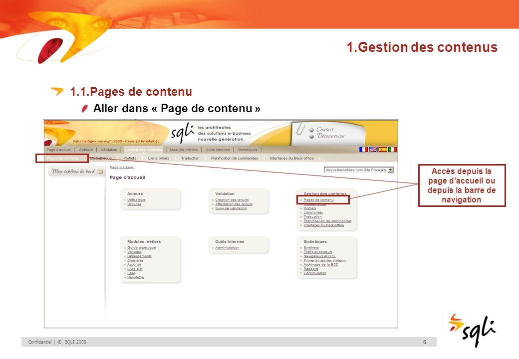 Accès depuis la page d'accueil ou depuis la barre de navigation