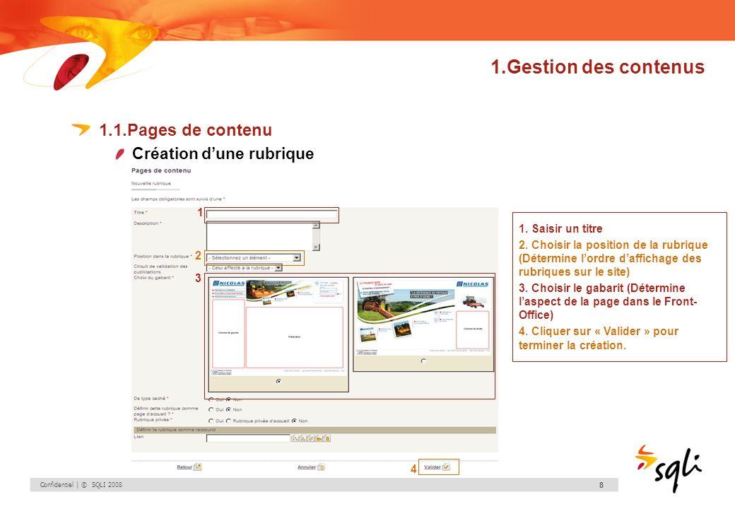 1.Gestion des contenus 1.1.Pages de contenu Création d'une rubrique 1