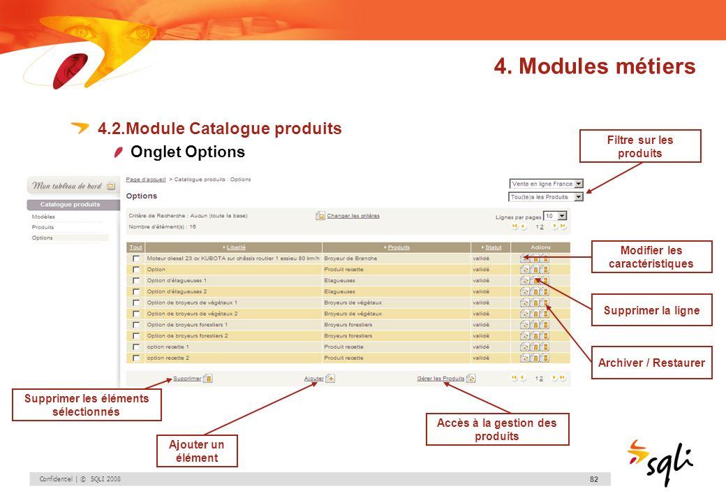 4. Modules métiers 4.2.Module Catalogue produits Onglet Options