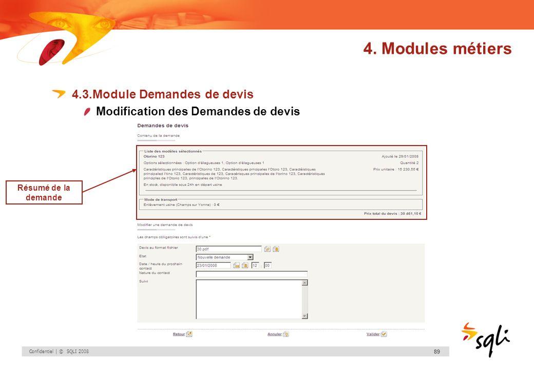 4. Modules métiers 4.3.Module Demandes de devis