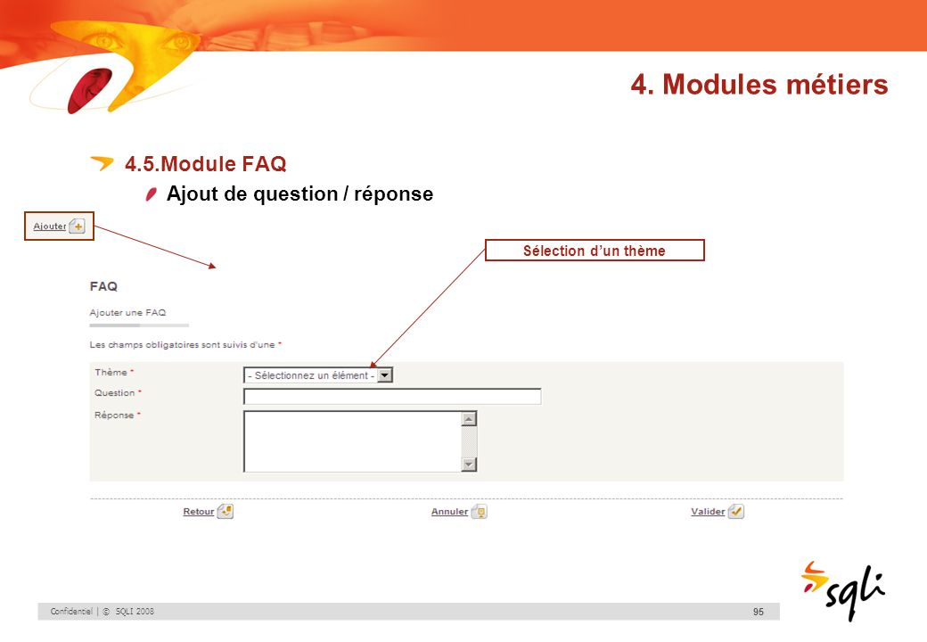 4. Modules métiers 4.5.Module FAQ Ajout de question / réponse