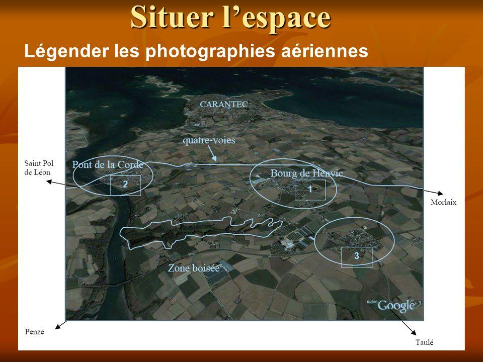 Situer l'espace Légender les photographies aériennes