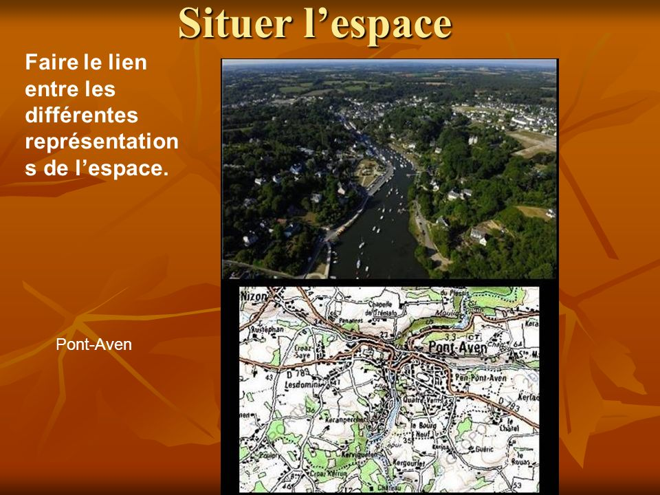 Situer l'espace Faire le lien entre les différentes représentations de l'espace. Pont-Aven