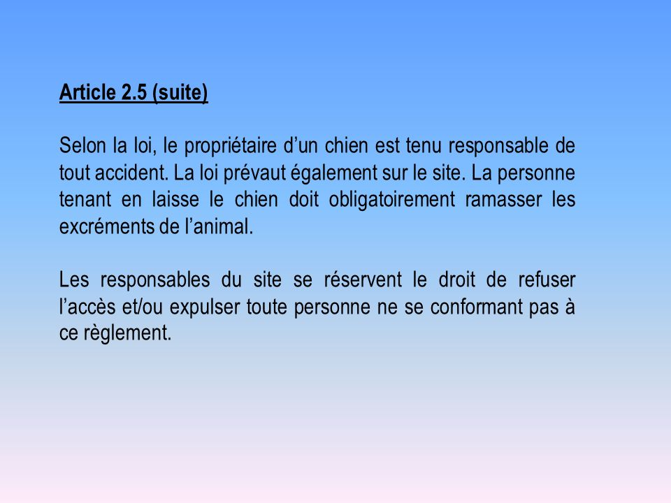 Article 2.5 (suite)