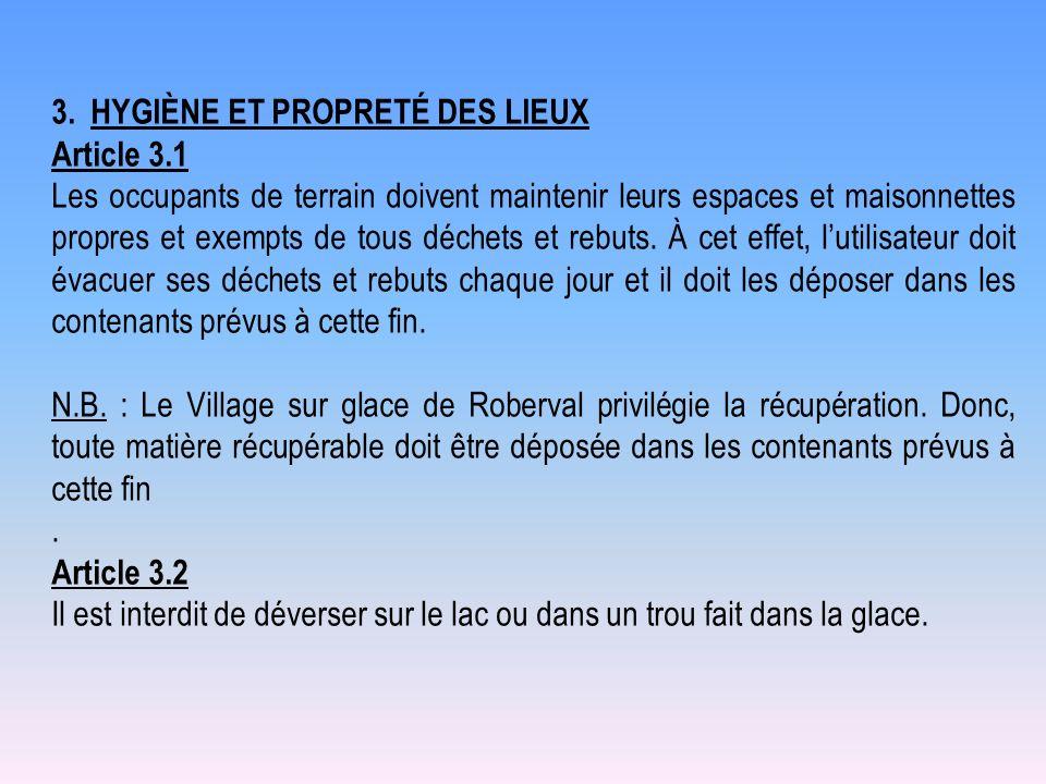 3. HYGIÈNE ET PROPRETÉ DES LIEUX