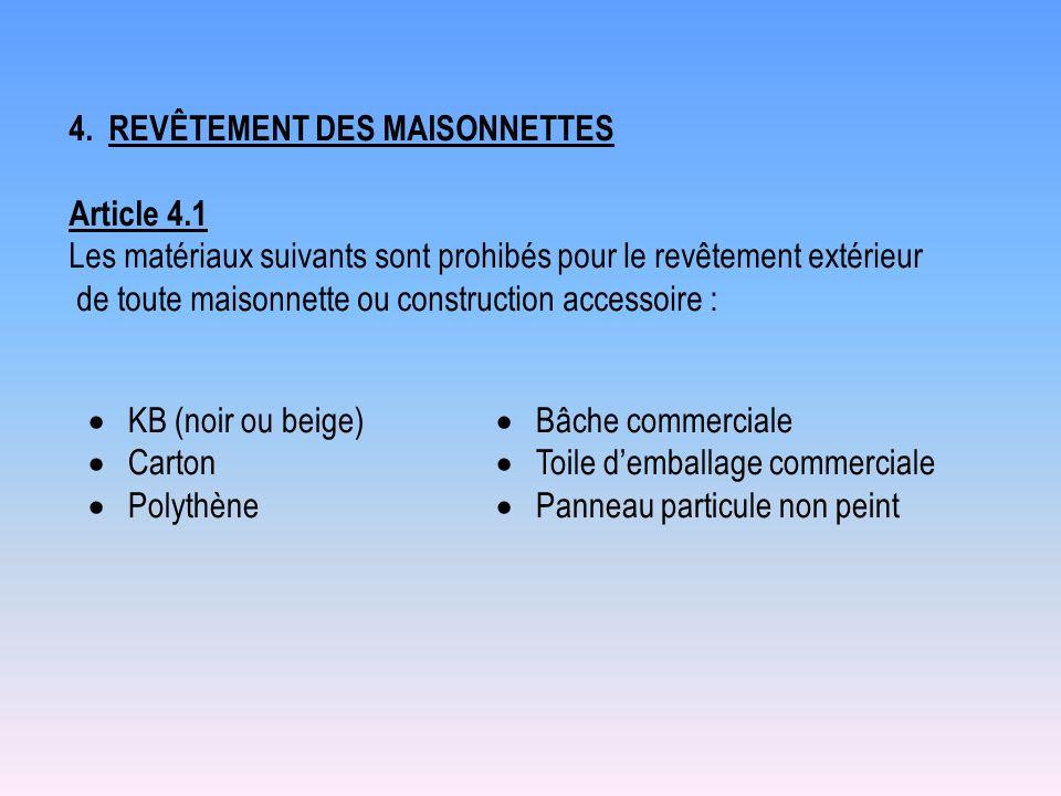 4. REVÊTEMENT DES MAISONNETTES