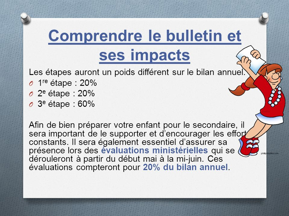 Comprendre le bulletin et ses impacts