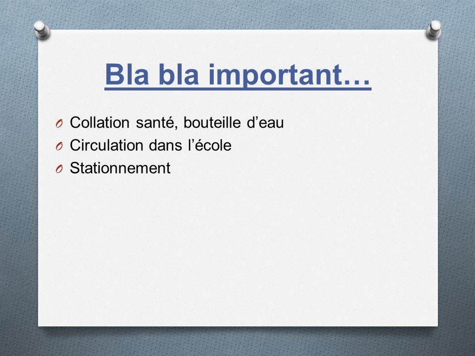 Bla bla important… Collation santé, bouteille d'eau