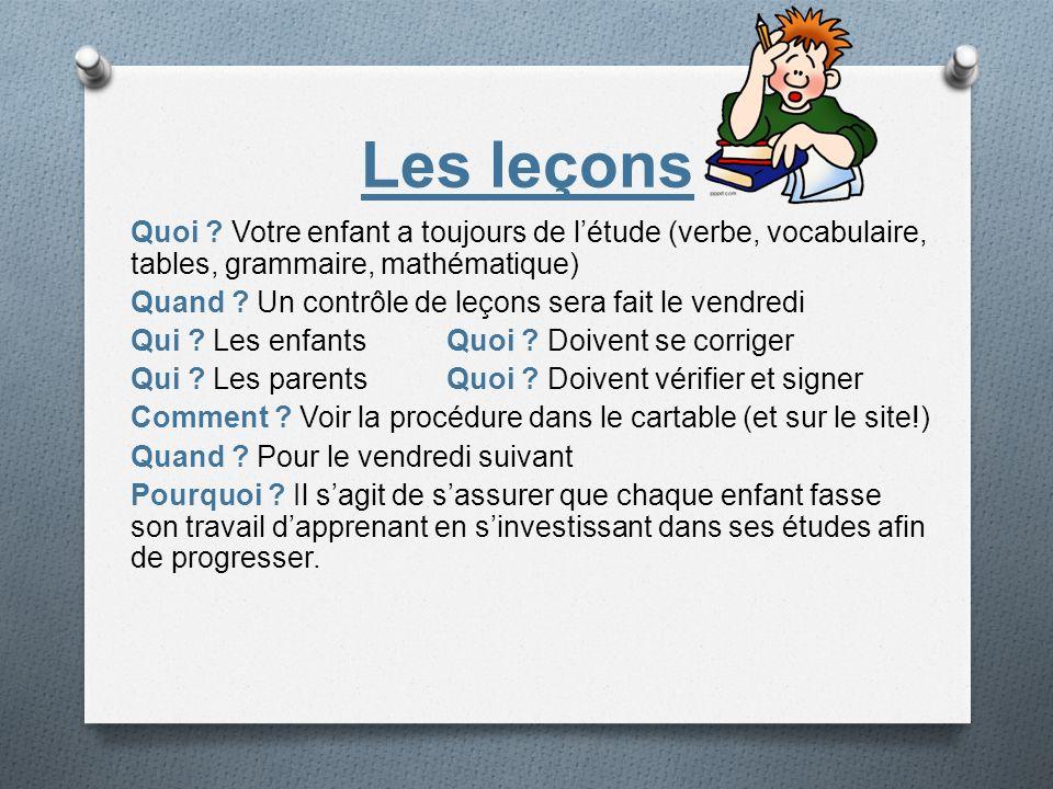 Les leçons Quoi Votre enfant a toujours de l'étude (verbe, vocabulaire, tables, grammaire, mathématique)