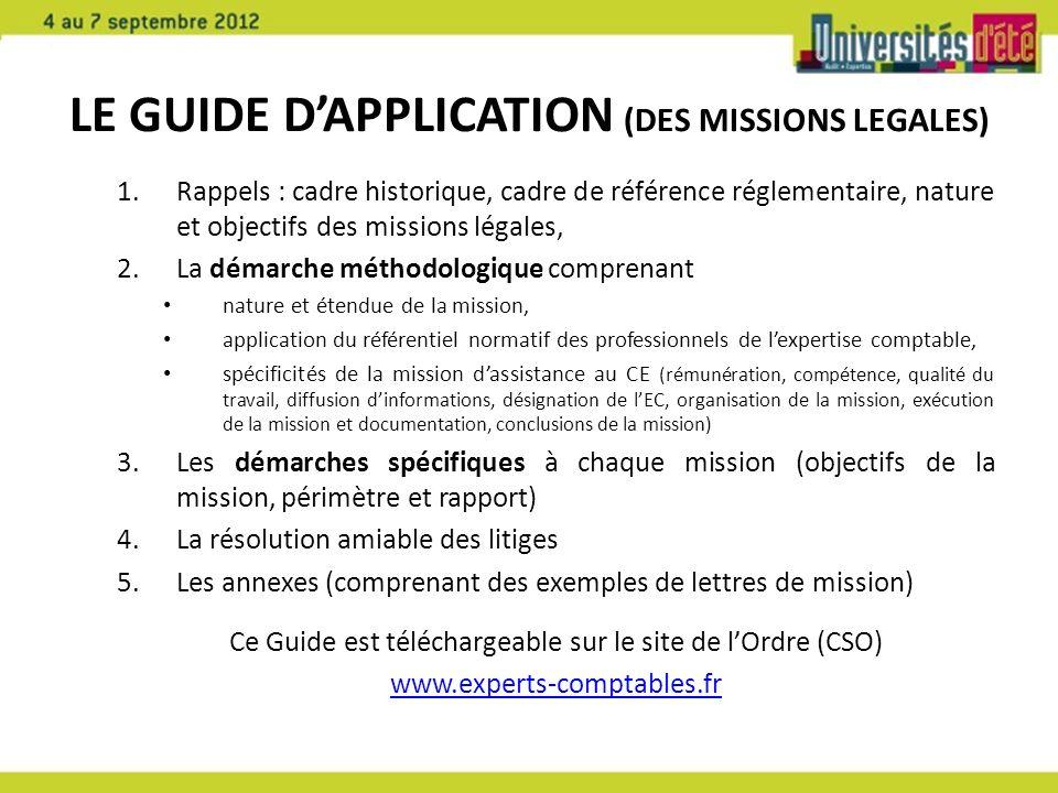 Le Guide D'APPLICATION (DES MISSIONS LEGALES)