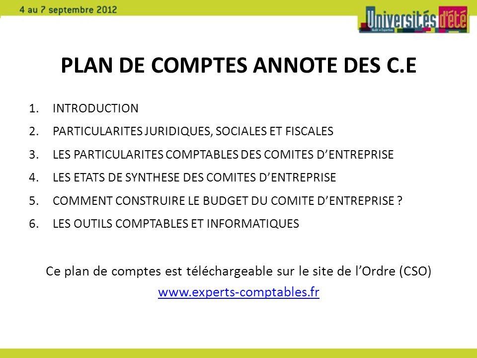 PLAN DE COMPTES ANNOTE DES C.E