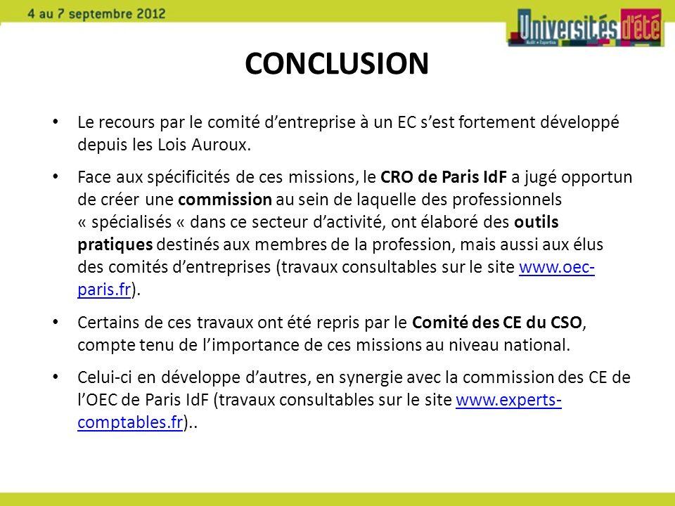 CONCLUSION Le recours par le comité d'entreprise à un EC s'est fortement développé depuis les Lois Auroux.