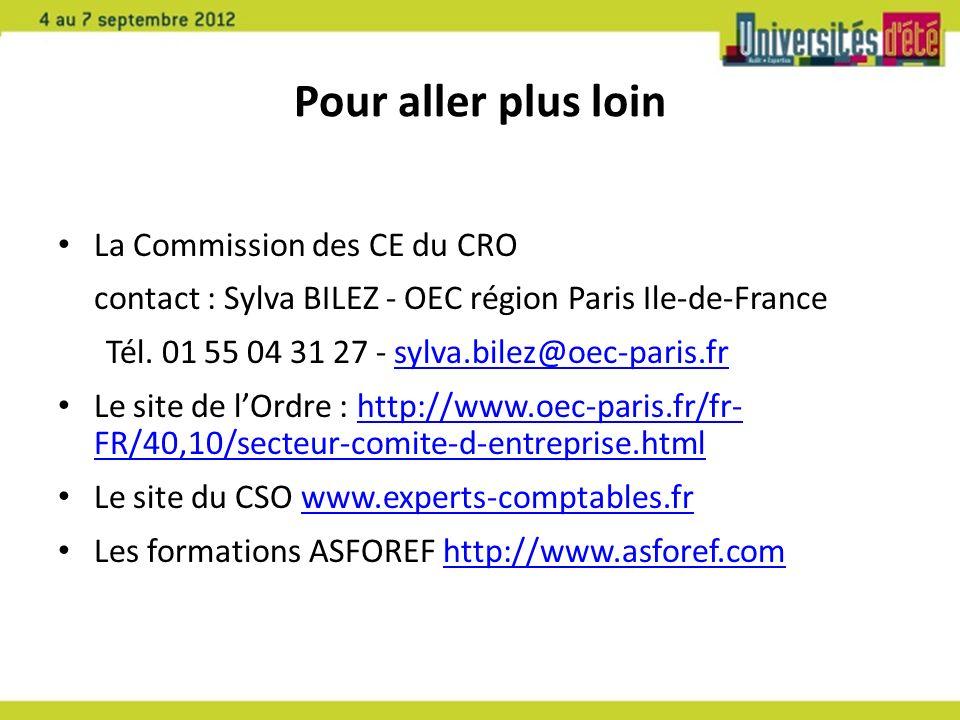 Pour aller plus loin La Commission des CE du CRO