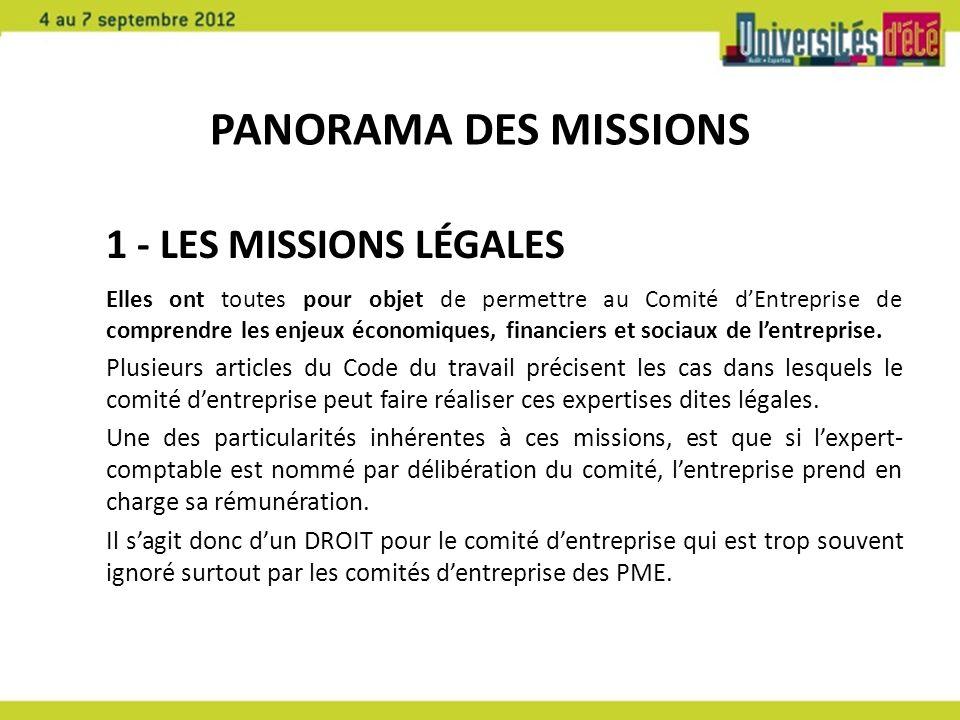 Panorama des missions 1 - Les missions légales