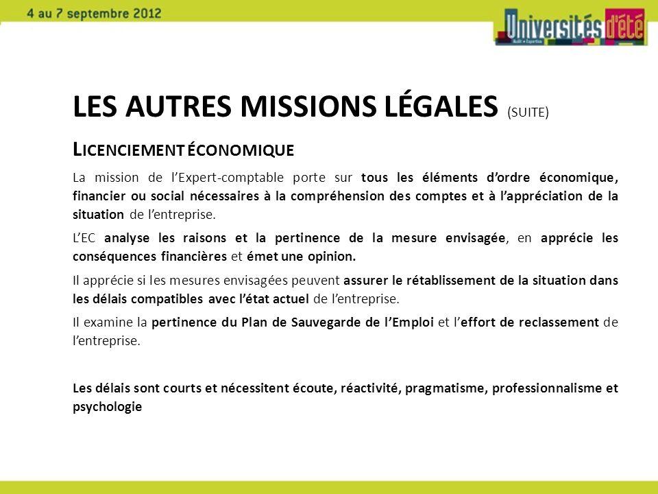 Les autres missions légales (suite)