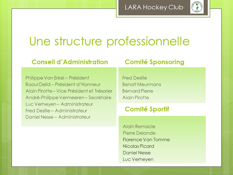 Une structure professionnelle