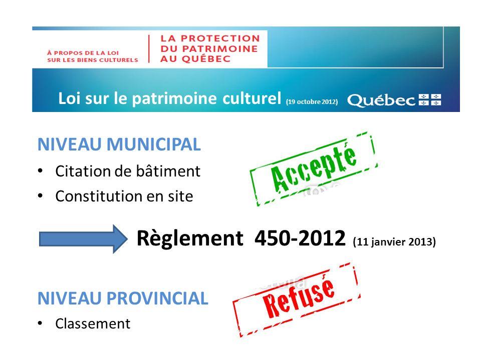NIVEAU MUNICIPAL Règlement 450-2012 (11 janvier 2013)