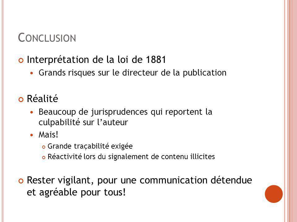 Conclusion Interprétation de la loi de 1881 Réalité